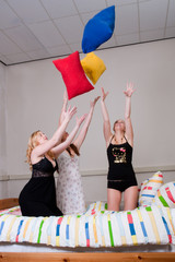 throwing with pillows at a pyjama party