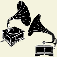 Antique Gramophone Vector 01