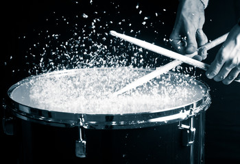 Drum, hand and sticks