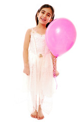 Cute girl in fancy dress isolated on white