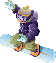 Young snowboarder. Vector and cartoon sport character.