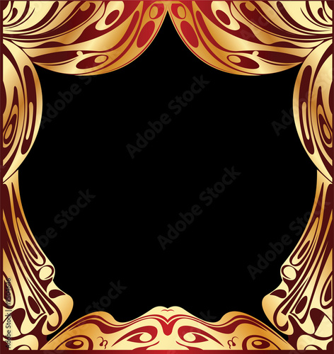 Simple Vector Red And Gold Curtain