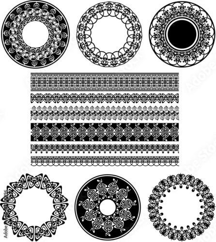 Many Lace Border Ornaments. Black And White Vector Illustration.