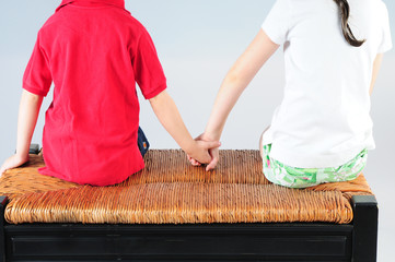 Young kids holding hands