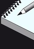 libreta de espiral con lápiz