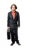 Young adult holding briefcase poster