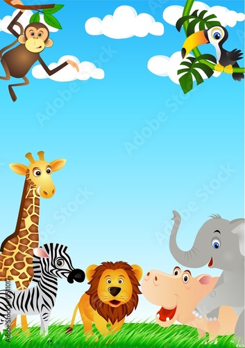 Cute animal cartoon in the wild