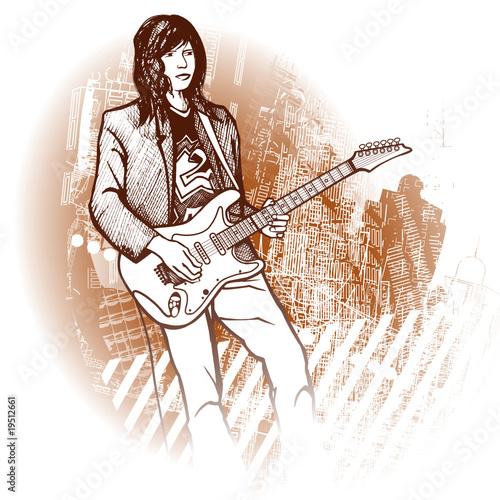 gitarzysta na tle grunge