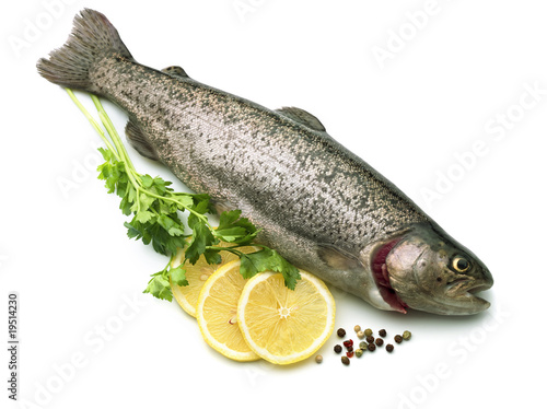 Raw fish with lemon, parsley, spice