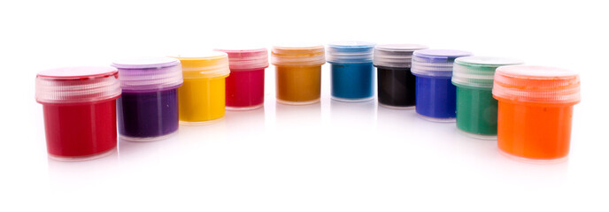Gouache pots isolated on white