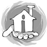 Illustration of a hand keeping buildings in palm