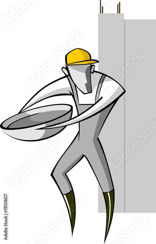 Illustration of silhouette of man working in the site