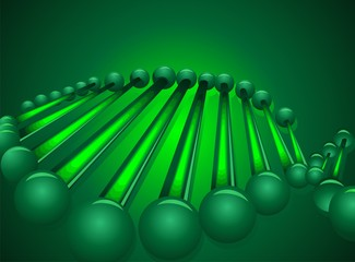 Illustration of green colour in DNA model