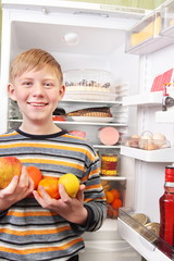boy with refrigerator