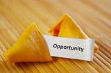 closeup of a fortune cookie with opportunity message poster