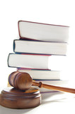 judges legal gavel and stacked law books poster