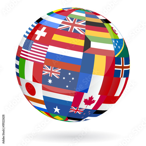 earth globe made with flags of the world