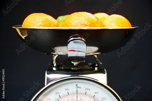 Fruit on kitchen scales