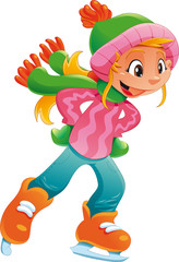 Young ice skater girl. Funny cartoon and vector character.