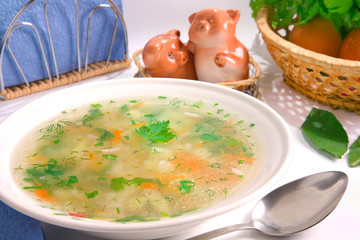 Served chicken rice soup