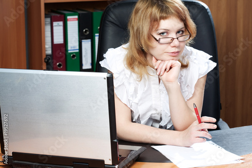 beauty woman secretary in office