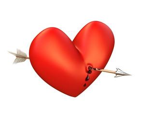 Pfeil in einem blutenden Herz. Oben, isoliert.