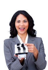 Ethnic businesswoman searching for the index