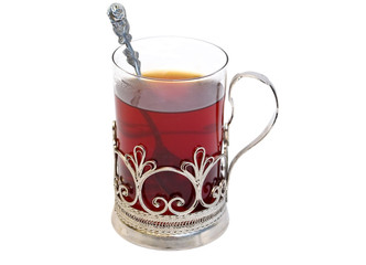 Tea in glass with coaster