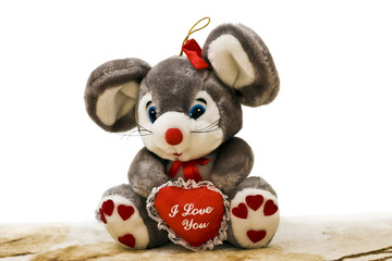 """Soft mouse and red heart with text """"I Love You"""""""