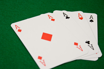 Four Aces on Green Felt