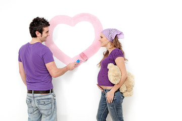 love, pregnant young couple