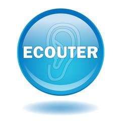 "Bouton web rond ""ECOUTER"" (médias internet play radio musique)"