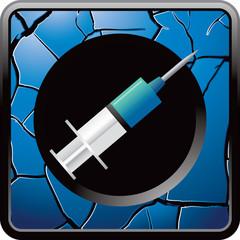 syringe blue cracked web button
