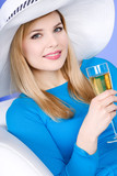 Portrait of woman with glass of champagne