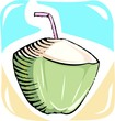 Illustration of sweet drink of coconut and straw