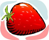 Illustration of sweet and red fruit of strawberry