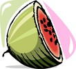 Illustration of eating fruit of water melon
