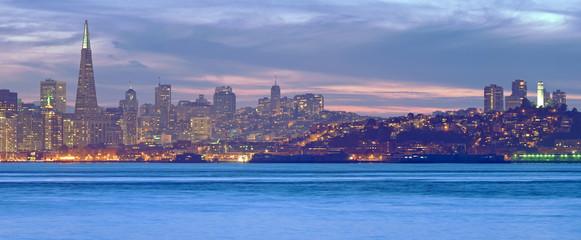 High resolution panorama of San Francisco Skyline at Dusk