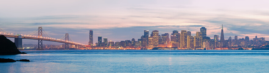 High resolution panorama of San Francisco Skyline and Bay Bridge