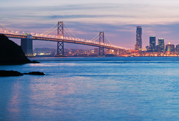 View across the water of the San Francisco-Oakland Bay Bridge