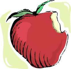Illustration of sweet fruit of apple with leaf