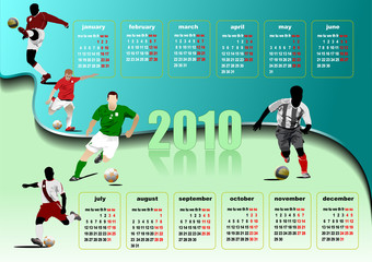 Calendar 2010 with soccer players image. Months. Vector illustra