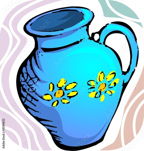 Illustration of jug with water and floral design