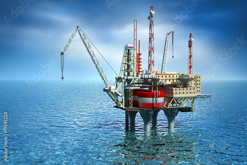 Drilling offshore Platform in sea. 3D image