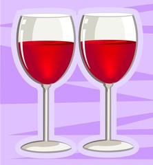 Illustration of glass with wine