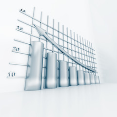 silver columns of diagram with arrow rising upwards