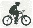 Illustration of boy cycling