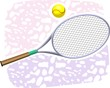 A tennis racket and ball placed in a floor