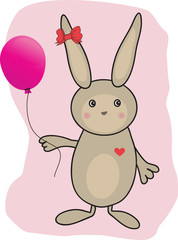 Rabbit with heart. Vector.