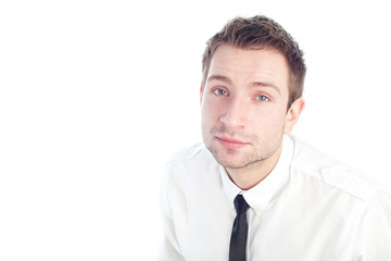 Young Businessman sitting and looking up